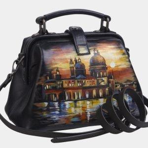 Уникальная черная сумка с росписью ATS-2267 215549