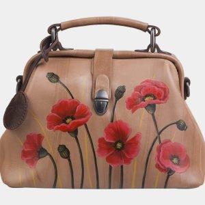 Уникальная бежевая сумка с росписью ATS-2282