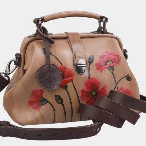 Уникальная бежевая сумка с росписью ATS-2282 215521
