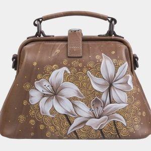 Деловая бежевая сумка с росписью ATS-2283