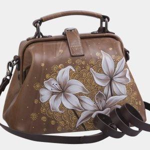 Деловая бежевая сумка с росписью ATS-2283 215516