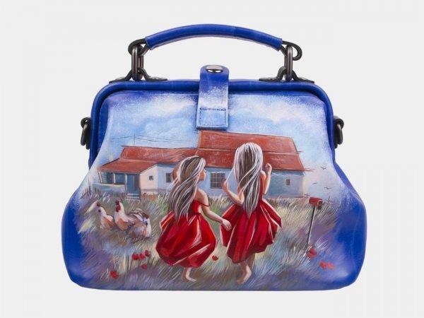 Удобная голубовато-синяя сумка с росписью ATS-2930