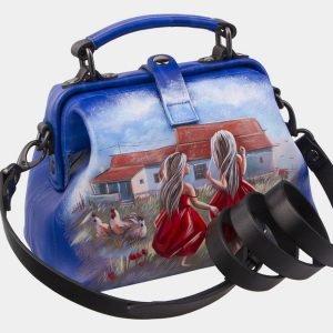 Удобная голубовато-синяя сумка с росписью ATS-2930 213913