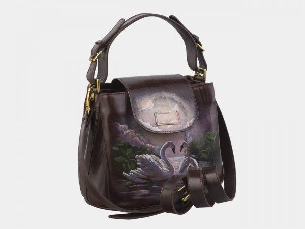 Стильная коричневая сумка с росписью ATS-2935