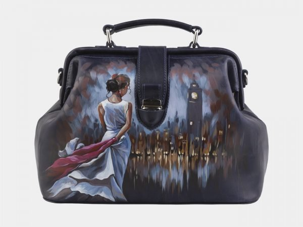 Уникальная синяя сумка с росписью ATS-2941