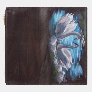 Вместительный коричневый портмоне с росписью ATS-2945 213846
