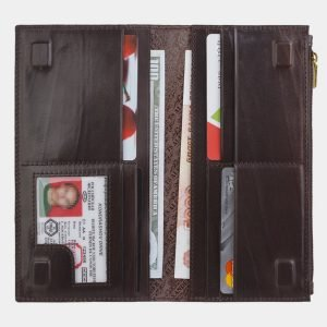 Вместительный коричневый портмоне с росписью ATS-2945 213847