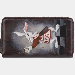 Солидный коричневый портмоне с росписью ATS-2947