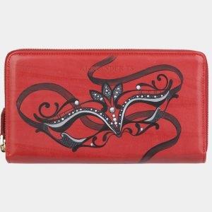 Функциональный красный портмоне с росписью ATS-2948