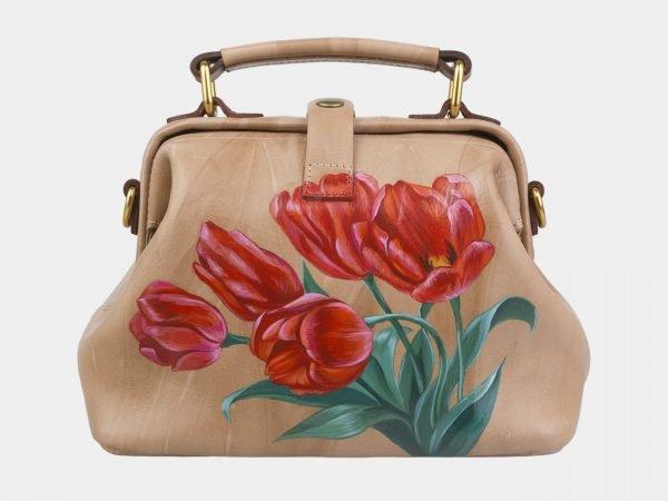 Деловая бежевая сумка с росписью ATS-2969