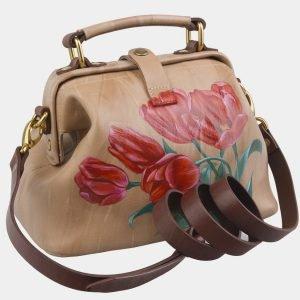 Деловая бежевая сумка с росписью ATS-2969 213779