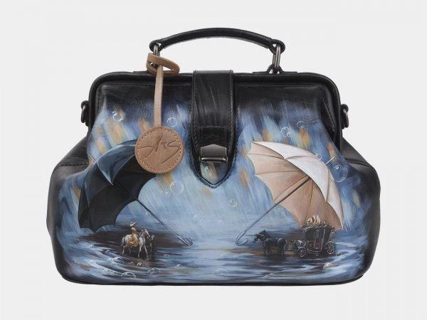 Модная черная сумка с росписью ATS-2967