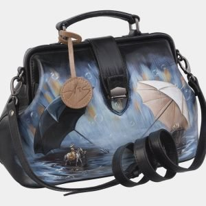 Модная черная сумка с росписью ATS-2967 213789