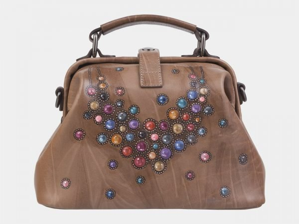 Модная бежевая сумка с росписью ATS-2314