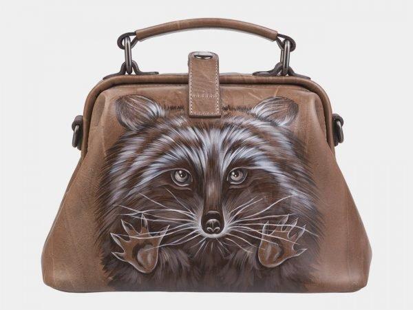 Функциональная бежевая сумка с росписью ATS-2317
