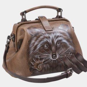 Функциональная бежевая сумка с росписью ATS-2317 215491