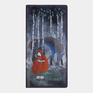 Модный синий портмоне с росписью ATS-2338