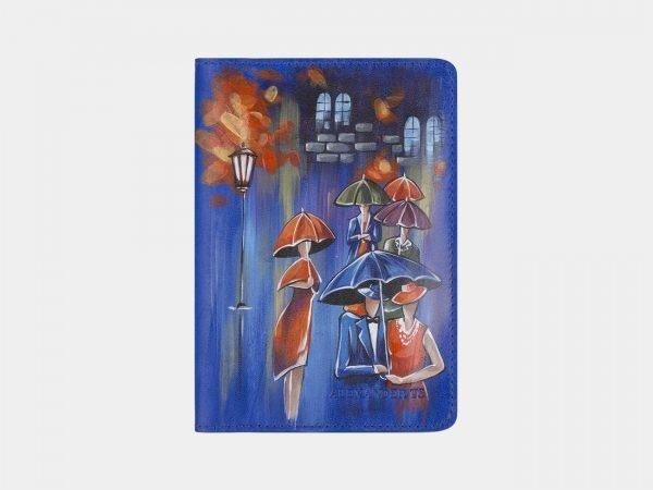 Вместительный голубовато-синий аксессуар с росписью ATS-2340
