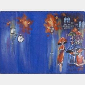 Вместительный голубовато-синий аксессуар с росписью ATS-2340 215442