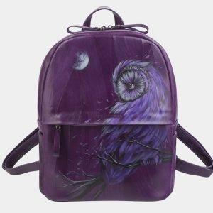 Деловой фиолетовый рюкзак с росписью ATS-2324