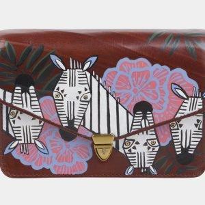 Кожаный коричневый клатч с росписью ATS-2330
