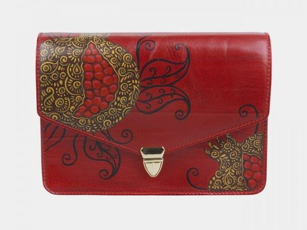 Деловой красный клатч с росписью ATS-2332