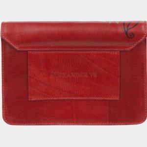 Кожаный красный клатч с росписью ATS-2332
