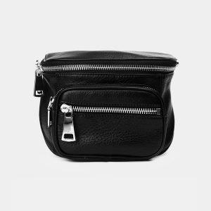 Солидная черная женская сумка на пояс ATS-3371