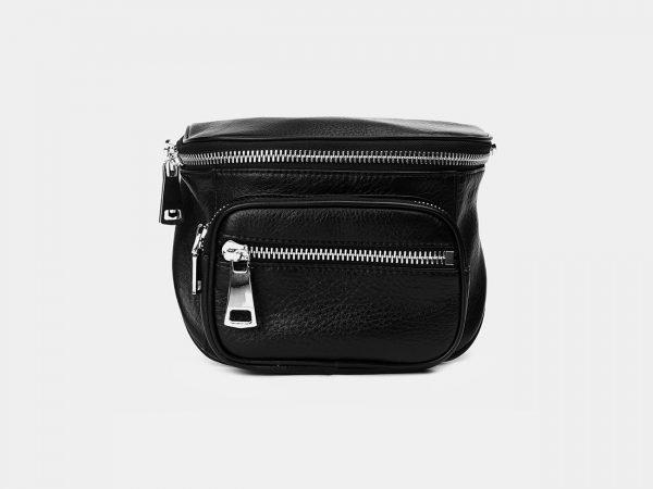 Вместительная черная женская сумка на пояс ATS-3371
