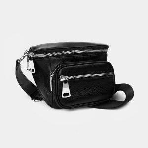Вместительная черная женская сумка на пояс ATS-3371 212688