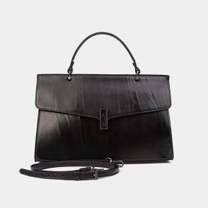 Кожаная черная женская сумка ATS-3567