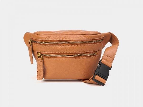 Вместительная бежевая женская сумка на пояс ATS-3571