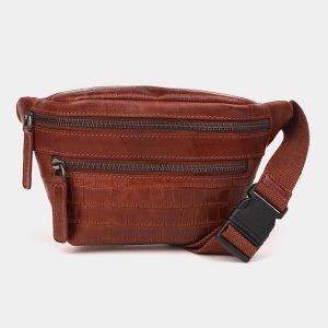Вместительная светло-коричневая женская сумка на пояс ATS-3572