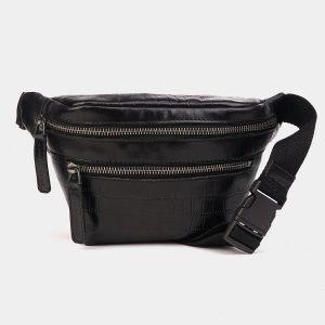 Уникальная черная женская сумка на пояс ATS-3574