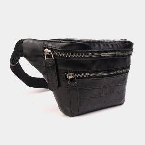 Стильная черная женская сумка на пояс ATS-3574 212010