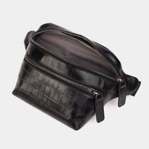 Стильная черная женская сумка на пояс ATS-3574 212012