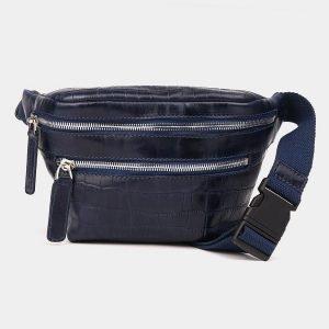 Солидная синяя женская сумка на пояс ATS-3575