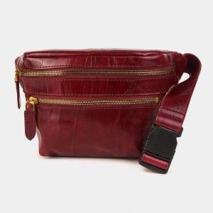 Деловая бордовая женская сумка на пояс ATS-3588