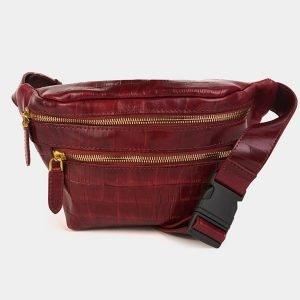 Модная бордовая женская сумка на пояс ATS-3589