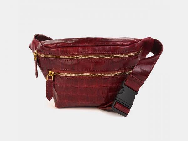 Деловая бордовая женская сумка на пояс ATS-3589