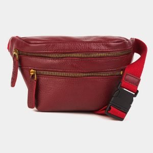 Вместительная бордовая женская сумка на пояс ATS-3590