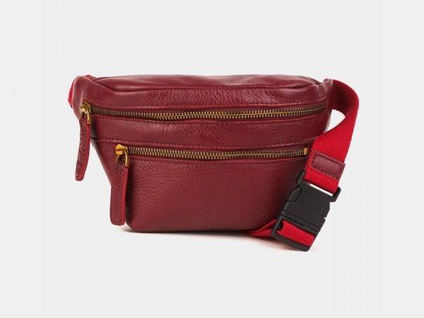 Удобная бордовая женская сумка на пояс ATS-3590