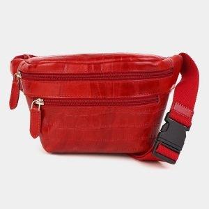 Уникальная красная женская сумка на пояс ATS-3592