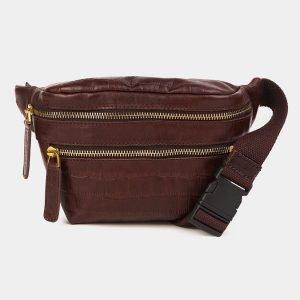 Кожаная коричневая женская сумка на пояс ATS-3594