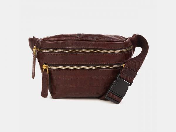 Модная коричневая женская сумка на пояс ATS-3594