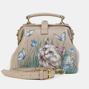 Уникальная бежевая сумка с росписью ATS-3607