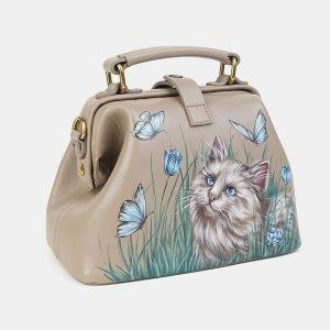 Уникальная бежевая сумка с росписью ATS-3607 211851