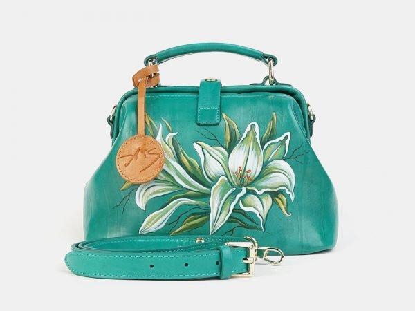 Модная зеленая сумка с росписью ATS-3601