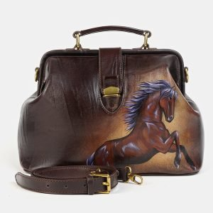Вместительная коричневая сумка с росписью ATS-3580