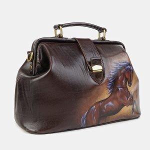 Вместительная коричневая сумка с росписью ATS-3580 211975